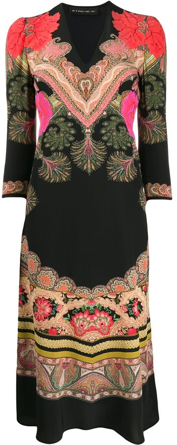 Etro fit and flare paisley dress