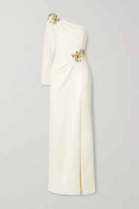 Marchesa One-sleeve Embellished Crepe Gown