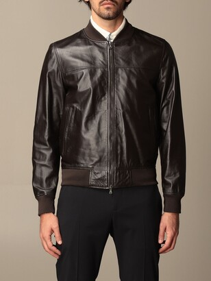 Orciani Bomber In Genuine Smooth Leather With Zip