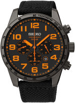Seiko Mens Black Nylon Strap Solar Chronograph Watch SSC233