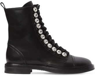 Casadei 20mm Embellished Leather Biker Boots