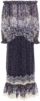 Saloni Elisa Off-the-shoulder Gathered Printed Georgette Midi Dress