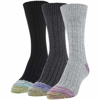 Gold Toe Women's Ribbed Crew Socks 3 Pairs