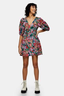 Topshop Floral Print Volume Sleeve Mini Dress