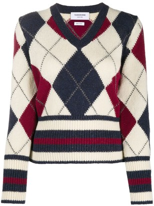 Thom Browne argyle V-neck jumper