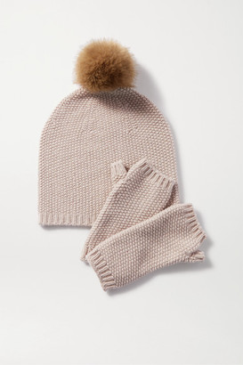 Johnstons of Elgin Faux Fur-trimmed Metallic Cashmere-blend Beanie And Wrist Warmers Set - Beige