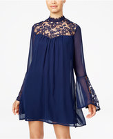 Trixxi Juniors' Lace-Yoke Shift Dress