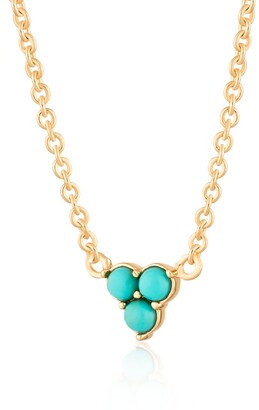 Gold Turquoise Trinity Necklace With Slider Clasp