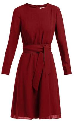Cefinn - Tie Waist Voile Dress - Womens - Burgundy