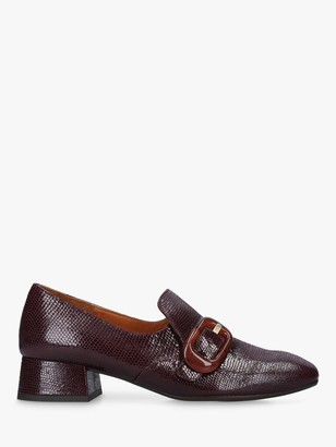 Chie Mihara Zazi Buckle Leather Heeled Loafers, Red