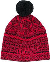 Fendi embroidered pom-pom beanie hat