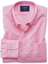 Slim Fit Non-iron Oxford Gingham Pink Cotton Shirt Single Cuff Size Large By Charles Tyrwhitt