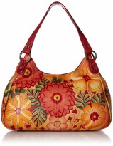 Anuschka Anna By Anna by Genuine Leather Ruched Hobo Bag | Hand-Painted Original Artwork | Summer Bloom