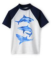 Classic Little Boys Raglan Colorblock Graphic Rash Guard-Sharks