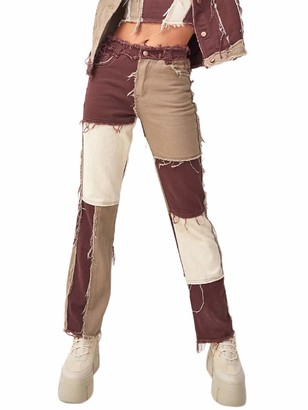 Springcmy Women Patchwork Pants Hight Waist Distressed Straight Denim Jeans A-line Vintage Pencil Trousers (Brown M)