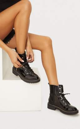 PrettyLittleThing Black Chunky Hiker Lace Up Boot