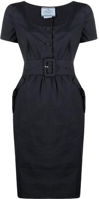 Prada Pre-Owned 1990s Belted Midi Dress