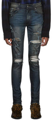 Amiri Indigo Rough Patch Jeans