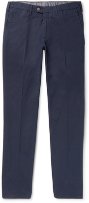 Canali Slim-Fit Stretch-Cotton Twill Chinos - Men - Blue