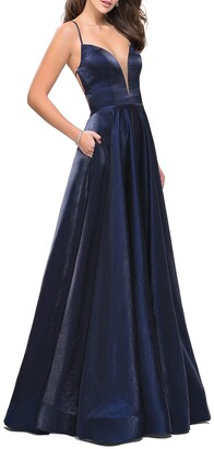 La Femme V-Neck Strappy-Back A-Line Satin Gown