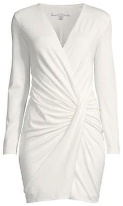 Black Halo Alba Ruched Long-Sleeve Dress