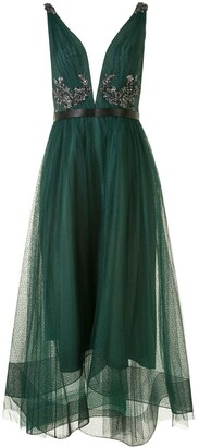 Marchesa sequin V-neck high-low dress