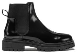 HUGO BOSS Lug-sole Chelsea booties in brush-off leather