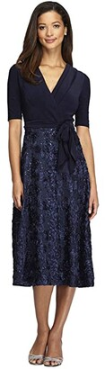 Alex Evenings Petite Tea Length Party Dress with Full Rosette Skirt and Tie Faux Belt (Navy) Women's Dress