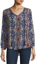 Tolani Janessa Ikat-Print Silk Tunic, Plus Size