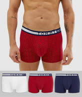 Tommy Hilfiger 3 pack trunks with contrast waistband detail in red/white/navy