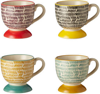 OKA Set of Four Herrinko Patterned Stoneware Espresso Mugs - Multi
