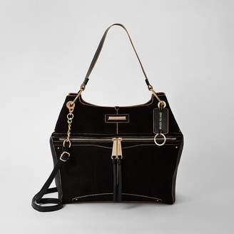 River Island Black zip front utility slouch bag