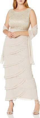 Jessica Howard JessicaHoward Women's Beaded Dress with Layered Skirt