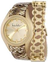 Nicole Miller Women's NMC007F 'Whitney' Gold Double Wrap Analog Watch