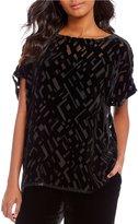 Eileen Fisher Bateau Neck Short Sleeve Box-Top