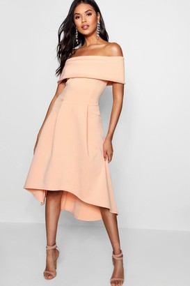 boohoo Off The Shoulder Dip Hem Skater Dress