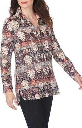 Foxcroft Jade Mixed Medallion Wrinkle-Free Sateen Tunic Shirt