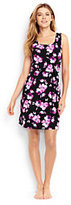 Lands' End Women's Petite Sleeveless Swim Cover-up Dress-Black/Tropical Pink Blossoms