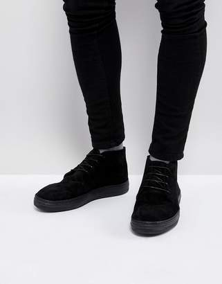 Asos Design Lace Up Boots In Black Suede-Tan