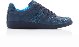 Maison Margiela Glitter-Embellished Canvas Low-Top Sneakers Size: 35