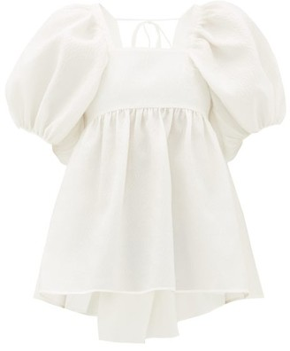 Cecilie Bahnsen Rita Puff-sleeve Open-back Rose-jacquard Blouse - White