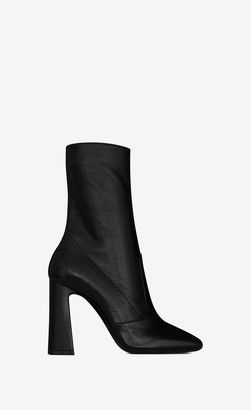 Saint Laurent Heel Booties Maddie Boots In Shiny Crinkled Leather Black 1