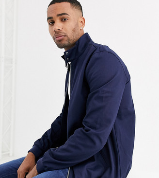 ASOS DESIGN Tall harrington jacket with funnel neck in navy
