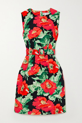 Oscar de la Renta Belted Floral-print Faille Dress - Black
