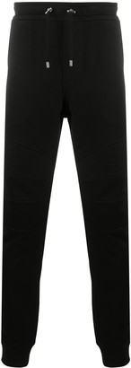 Balmain Slim Fit Metallic Logo Print Track Pants
