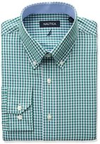 Nautica Men's Regular Fit Mini Gingham Dress Shirt