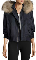 Vince Fur-Trimmed Bomber Jacket, Coastal