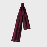 Paul Smith Men's Damson And Red Houndstooth Stripe Wool Scarf