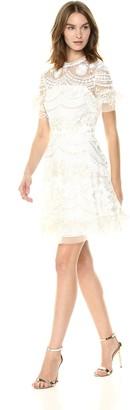 Shoshanna Women's Sora Short-Sleeve Fit and Flare Dress White/Multi 8