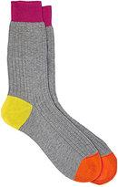 Richard James Men's Ribbed Mid-Calf Socks-GREY